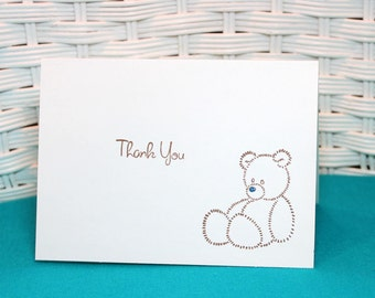 Set of 6 Hand Stamped Teddy Bear Boy Thank You Note Cards