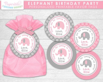 Elephant Theme Birthday Party Favor Tags | Pink & Grey | Personalized | Printable DIY Digital File