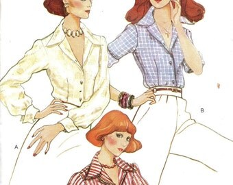 Retro 80s Vogue Sewing Pattern Women's Blouse Wing Collar Neck Button Front Shirt Long Short Sleeve Top Bust 34