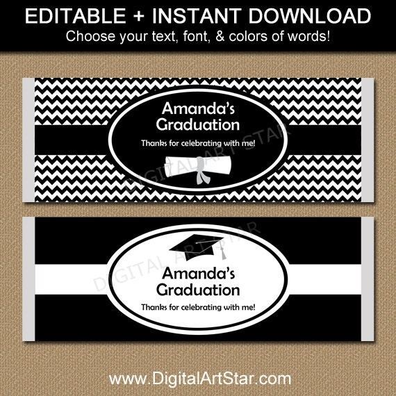 Graduation chocolate bar wrappers editable by digitalartstar for Free printable graduation candy bar wrappers templates