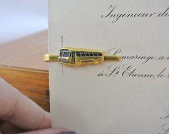 Vintage Bus Tie Clip  | Gold Tone Tie Bar | Men's Gift | Tie Accesory