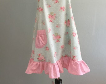 Womens Cute  Country Cottage Handmade Full Apron/French Country/Kitchen Apron/Flirty Apron/Hostess Apron/Vintage Apron/Pink and Aqua Apron