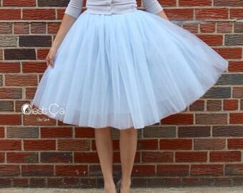 Clarisa - Baby Blue Tulle Skirt, Blue Gray Tutu, 6-layers Puffy Tutu, Princess Tutu, Adult Tutu, Midi Tulle Skirt, Plus Size Tulle Skirt
