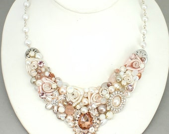 Rose Gold Bridal Necklace- Blush Pink Bib- Rose Gold Necklace- Rose Gold Wedding Bib-Bridal Bib Necklace-Blush Wedding Necklace-Brass Boheme