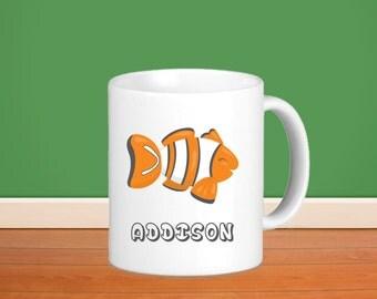 Fish Kids Personalized Mug - Fish Bowl Fish with Name, Child Personalized Ceramic or Poly Mug Gift