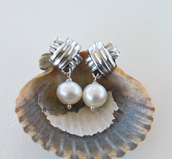 Pearl Drop Earrings . Classic Criss Cross Design . Sterling Silver Posts