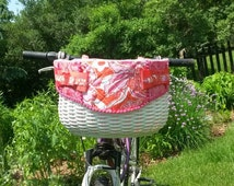 READY TO SHIP - Sale Handwoven Hand Quilted Large Bicycle Basket With Lilly Pulitzer Fabric