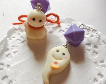 Cute Ghost Earrings - Glow in the dark - Kawaii Halloween Spooky Boo Candy Corn orange and violet OOAK polymer clay jewelry charm miniature