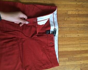 Red Cigarette Skinny Slacks Pants