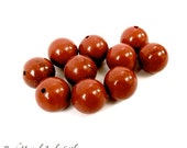 Red Orange Jasper Gemstones, 10mm Round Ball Beads, Burnt Orange Tomato Red Semi Precious Stones - 10 Pieces, DIY Jewelry Making  SP166