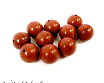 Brick Red Jasper Gemstones. 10mm Round Beads. Burnt Orange Tomato Red Stones - 10 Pieces. DIY Jewelry Making
