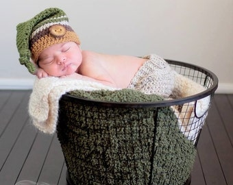 Crochet Knot Top Beanie Hat with Wood Tree Branch Button Newborn Photo Prop 0 - 3 Months