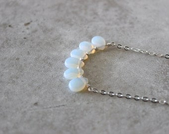 SALE 20% OFF - Opalite Teardrop Necklace, Sterling Silver Necklace
