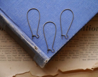 50 pcs Antique Bronze Kidney Earring Wires 35 x 15mm (BF2885)