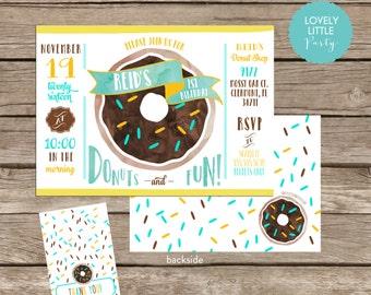 DIY Donut Birthday Invitation Kit 2 Darker Donut - Invite AND Thank You Card included