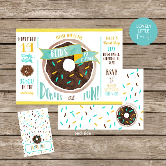 DIY Donut Birthday Invitation Kit 2 Darker Donut - Invite AND Thank You Card included