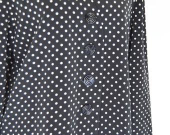 Clearance-1980's Black and White Polka Dot blouse- Long Sleeve V-neck top- 80's retro polka dot top-ladies size large