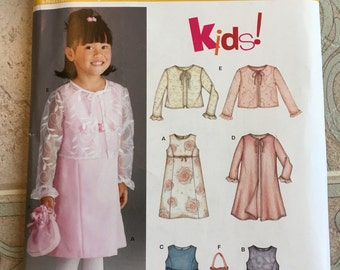 CLEARANCE Uncut Holiday NEW LOOK Girls' Dress #6238 Size A - 2 3 4 5 6 7 - Sleeveless Dress, Overlay, Purse - Easter, Christmas, Church
