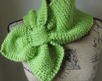 Green Keyhole Scarf, lime green hand knit scarf with slip through pocket scarf, chartreuse scarflet for tucking under your coat, collar wrap