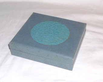 Vintage Display Box, Gift Box, Faux Leather Flower Relief Decor