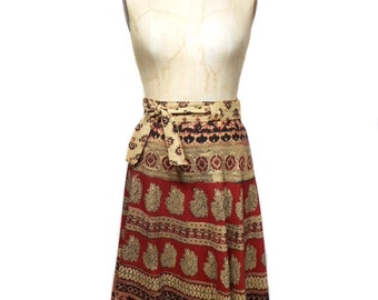 vintage 1970s Indian cotton skirt / wrap skirt / boho bohemian / novelty print / women's vintage skirt / size medium