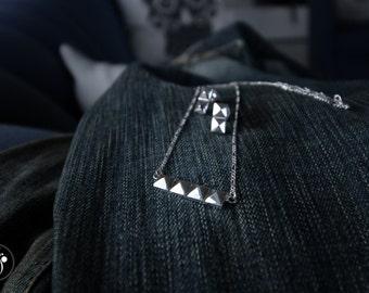 Silver Pyramid Studded Bar necklace