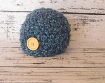 SALE Crochet Baby Hat Chunky  Photo prop baby boy baby girl large coconut button in Navy and Peacock Blue