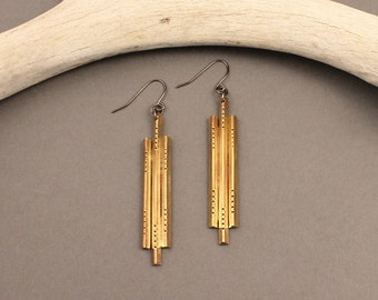 Sanctuary hammered brass native-deco inspired earrings