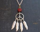Silver Peace Necklace Dream Catcher Necklace Peace Sign Jewelry Hippie DreamCatcher Jewelry Silver Feather Necklace Dreamcatcher Peace Love