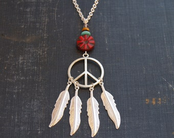 Silver Dreamcatcher Necklace Dream Catcher Peace Necklace Peace Sign Jewelry Hippie Dream Catcher Jewelry Silver Feather Dream Catcher Peace