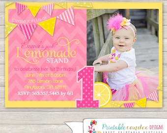 Pink Lemonade Birthday Invitation - Lemonade Stand Invitation - Lemonade Birthday - Lemonade Party - Pink Lemonade - DIY Custom Printable