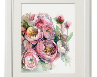 Peonies print from original watercolor, flowers painting, mother's day