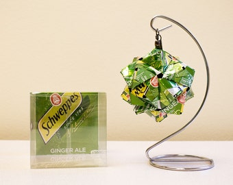 Schweppes Ginger Ale Origami Ornament // Upcycled Recycled Repurpose Can Art  // Valentines Day // weird gifts