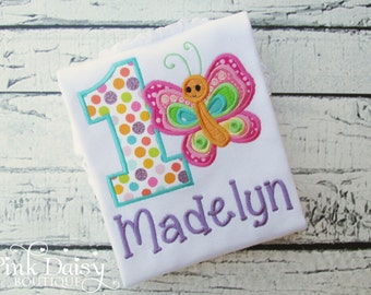 Birthday Shirt. Butterfly Birthday Shirt. Spring Polka Dot Personalized Embroidered Birthday Shirt in Bright Rainbow Colors.