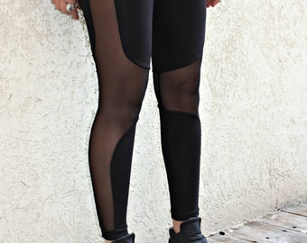 Black Leggings, Sexy LeGGings, Burningman Clothing, Sheer Leggings, Mesh Black Leggings