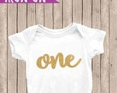 Gold One Birthday Outfit, Iron On Decal, 1st Birthday Iron On, First Birthday Outfit, DIY Iron on