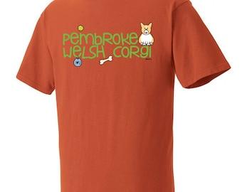 Pembroke Welsh Corgi Doodle Garment Dyed Cotton T-shirt