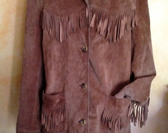 Vintage Hippie Boho Genuine Suede Fringe Jacket Coachella Style Beige M/L