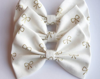 SALE - Rory Hair Bow - White & Metallic Gold Bow Pattern Hair Bow with Clip