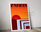 Victoria Falls, Zambia - Art Deco Travel Poster