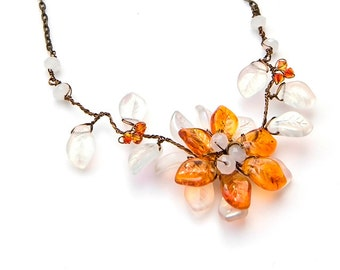 Orange and White Flower Necklace, Woodland Bridal Necklace, Rustic Wedding Jewelry