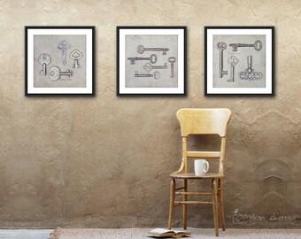 Key Wall Art, Modern Rustic Photography, Neutral Farmhouse Decor, Set of 3 Square Prints - SAVE 20%