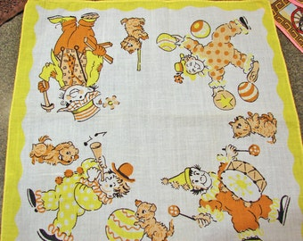 Child's Hankie with Clowns and Puppies Print Vintage Handkerchief