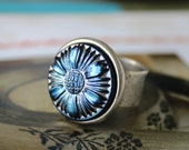 Art Glass Ring Blue Metalic Sunflower Ring, Antiqued Silver Adjustable Ring Button Jewelry veryDonna