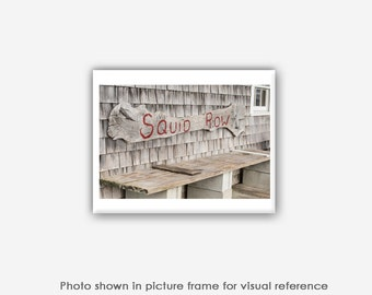 Martha's Vineyard Photography, Menemsha Squid Row Sign Bench Photos, Photographs, Art Prints, Pictures, Blank Photo Greeting Card Sets
