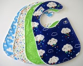 Side Snap Baby Bibs for Boy, Set of 4 - Clouds, Rain, Stars, Moons, Sky, Raindrops, Minky Back