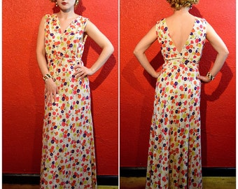 1930s Cotton Dress with Abstract Floral Print Low Back