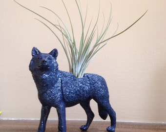 Glossy Navy Wolf Planter, Animal Planter, Air Plant Container