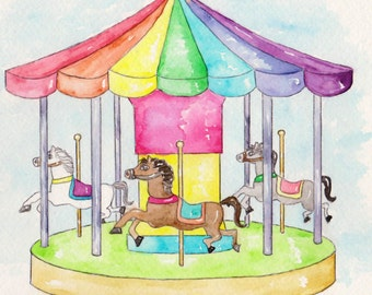 Carousel Watercolor Print, Art for Kids Room, Merry-Go-Round Carnival Ride, Hobby Horse Wall Picture, Rainbow Colors Amusement Park Painting
