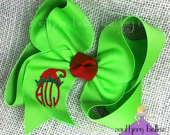 Big Christmas Elf Bow, Monogrammed Christmas Elf Hair Bow, Hair Bow For Christmas, Christmas Monogram Hair Bow, Big Elf Bow
